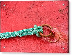 Green Marine Rope On Red Ship Acrylic Print by Matthias Hauser