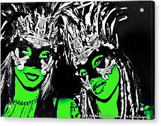 Green Mask  Acrylic Print by Ley Clarie Gray