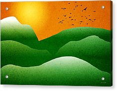 Green Mountain Sunrise Landscape Art Acrylic Print