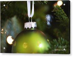Green Ornament Hanging In Tree Acrylic Print by Birgit Tyrrell
