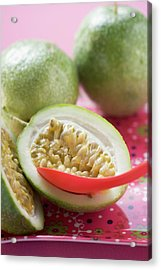 Green Passion Fruits, One Halved, With Spoon Acrylic Print