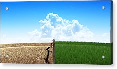 Green Pastures With Fence Acrylic Print