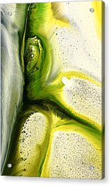 Green Peacock Feather Abstract Wall Art By Kredart Acrylic Print by Serg Wiaderny