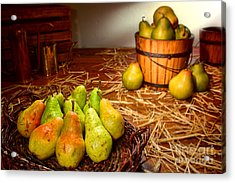 Green Pears In Rustic Basket Acrylic Print by Olivier Le Queinec