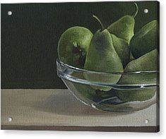 Acrylic Print featuring the painting Green Pears by Natasha Denger