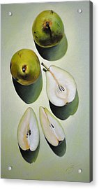 Acrylic Print featuring the pastel Green Pears - Pastel by Ben Kotyuk