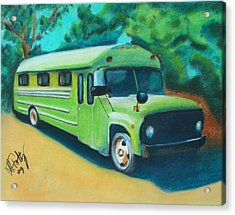 Green School Bus Acrylic Print