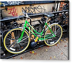 Green Schwinn Bike  Nyc Acrylic Print