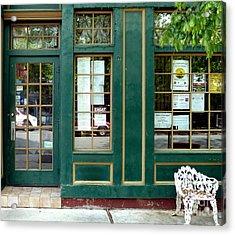 Green Shop Door Acrylic Print by Sally Simon