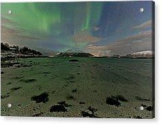 Green Sky Over The Beach Acrylic Print by Frank Olsen