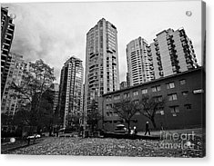Green Space In Front Of High Rise Apartment Condo Blocks In The West End Between Robson And West Geo Acrylic Print by Joe Fox