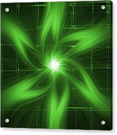 Acrylic Print featuring the digital art Green Swirl by Maggy Marsh