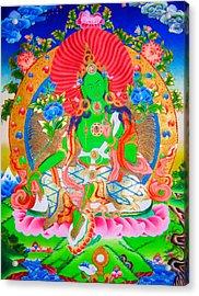 Green Tara 11 Acrylic Print by Lanjee Chee