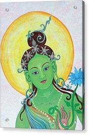 Green Tara Acrylic Print by Sarah Grubb