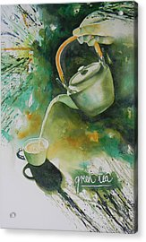 Green Tea Acrylic Print by Adel Nemeth
