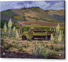 Green Truck- Blooming Yuccas Acrylic Print