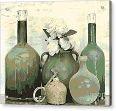 Green Vases Still Life Acrylic Print by Marsha Heiken
