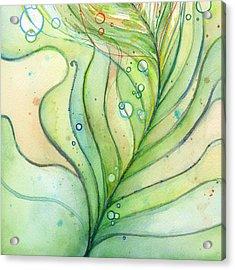 Green Watercolor Bubbles Acrylic Print by Olga Shvartsur