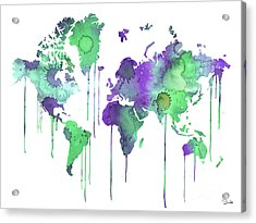 Green Watercolor Map Acrylic Print by Luke and Slavi