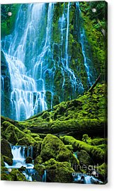 Green Waterfall Acrylic Print by Inge Johnsson