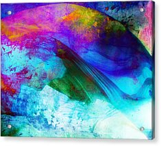 Acrylic Print featuring the painting Green Wave - Vibrant Artwork by Lilia D