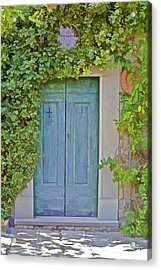 Green Wood Door Of Tuscany Acrylic Print