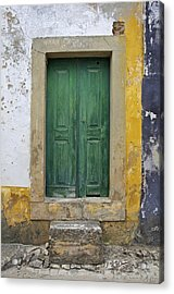 Green Wood Door With Hand Carved Stone Against A Texured Wall In The Medieval Village Of Obidos Acrylic Print by David Letts