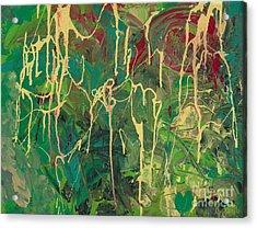 Green Yellow Abstract Acrylic Print
