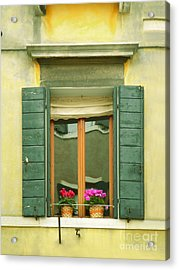Green Yellow Venice Series Shutters Acrylic Print