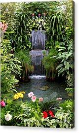 Greenhouse Garden Waterfall Acrylic Print by Carol Groenen