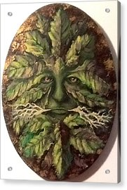 Acrylic Print featuring the painting Greenman by Megan Walsh