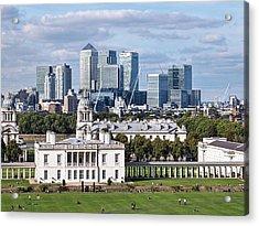 Greenwich And Canary Wharf Acrylic Print by Gill Billington