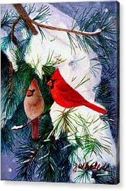 Greeting Cardinals Acrylic Print