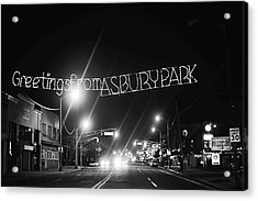 Greetings From Asbury Park New Jersey Black And White Acrylic Print