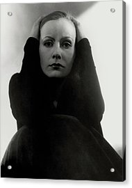 Greta Garbo Wearing A Black Dress Acrylic Print by Edward Steichen