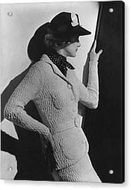 Gretchen Uppercue Wearing A Suit And Hat Acrylic Print by Lusha Nelson