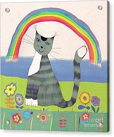 Grey Cat Under Rainbow Acrylic Print by Yana Vergasova