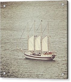 Gray Day And A Tall Ship Acrylic Print