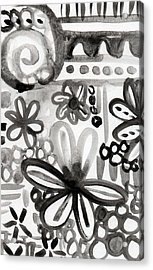 Grey Garden- Abstract Floral Painting Acrylic Print