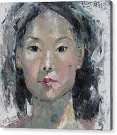 Grey Hair - Self Portrait Under The Ceiling Light Acrylic Print by Becky Kim