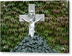 Grey Marmoreal Cross With Trailing Ivy Acrylic Print by Angela Kail