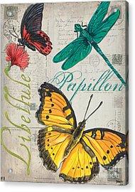 Grey Postcard Butterflies 3 Acrylic Print by Debbie DeWitt