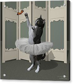 Grey Tabby Ballet Cat On Paw-te Acrylic Print by Andre Price