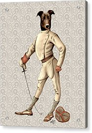 Greyhound Fencer Full White Acrylic Print by Kelly McLaughlan