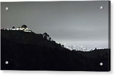 Griffith Park Observatory And Los Angeles Skyline At Night Acrylic Print