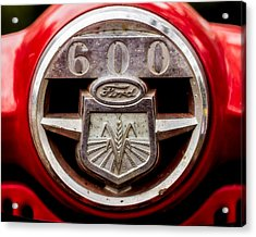 Grill Logo Detail - 1950s-vintage Ford 601 Workmaster Tractor Acrylic Print by Jon Woodhams