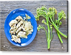 Grilled Artichoke And Brocolli Acrylic Print by Tom Gowanlock