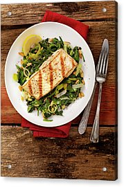 Grilled Halibut With Spinach, Leeks And Acrylic Print by Lauripatterson