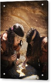 Grinding Corn Acrylic Print by Betty Depee