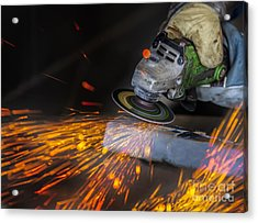 Grinding In A Steel Factory  Acrylic Print